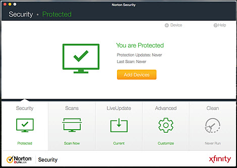 The Nortion Security screen states that