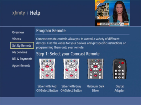 "On the XFINITY Help screen, the Set Up Remote option is selected on the left side of the screen. Details on how to ""Program Remote"" are listed on the right side of the screen. Step 1: Select your Comcast Remote is displayed."