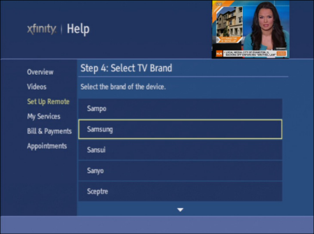 On the XFINITY Help screen, Step 4: Select TV Brand is displayed. The Samsung option is selected.