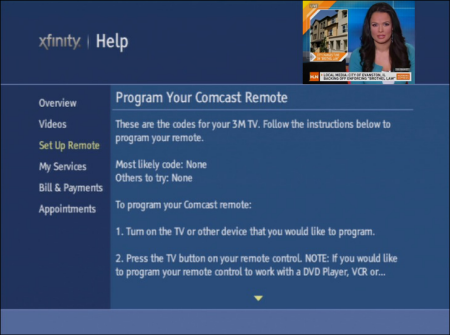 On the XFINITY Help screen, Program Your Comcast Remote is displayed. Program codes and instructions for setting up the Comcast remote are displayed.