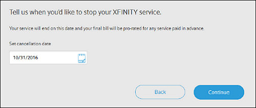 Tell us when you'd like to stop your XFINITY service screen. Continue option is at bottom right.