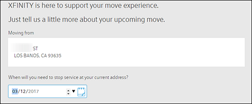 Fields to input address you are moving from and drop down for date to stop service.