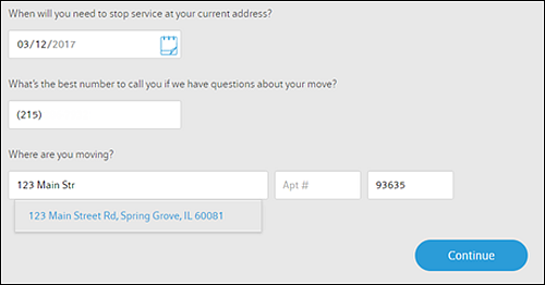 Fields to enter contact number and address you are moving to.