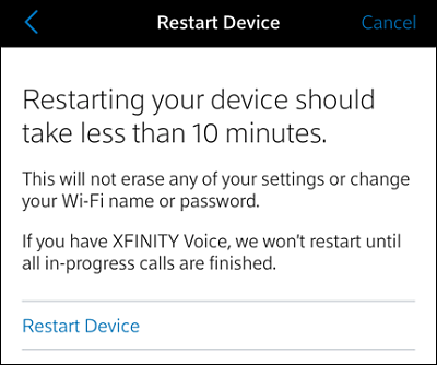 Restart Device screen. Restart Device option is at bottom. Cancel option at top right.
