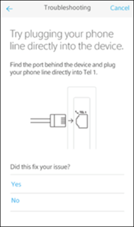 Troubleshooting screen with messaging: 'Try plugging your phone line directly into the device.' 'Yes' and 'No' options are below this.