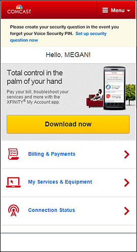 Verify Security PIN for Xfinity My Account App Online