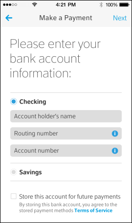 XFINITY My Account App Make a Payment screen has options for Checking or Savings and fields for Account holder's name, Routing number and Account number.