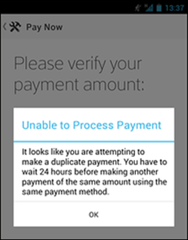 XFINITY My Account app Pay Now screen shows an error message if the user tries to make a duplicate payment.