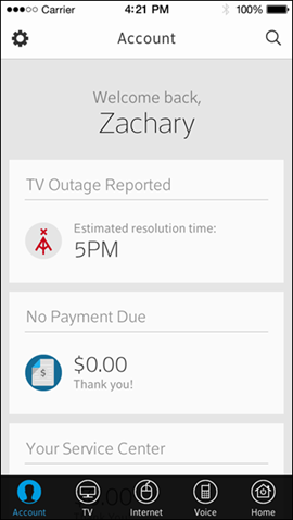 """On the app's screen, a message reads """"TV Outage Reported, Estimated resolution time: 5 PM."""""""