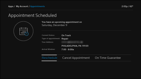 My Account TV app appointment details screen with current appointment showing.