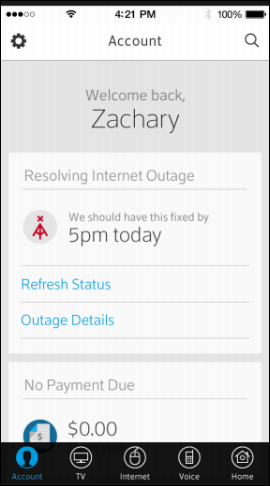 The screen offers the option to choose Refresh Status or Outage Details.