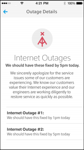 The Outage Details screen describes two Internet outages that are going on simultaneously and provides an estimated time of repair for each outage.