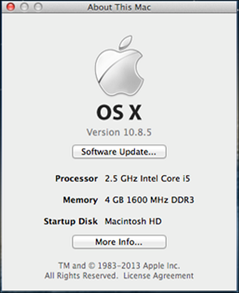 "About This Mac screen with ""More Info"" selected. ""More Info"" can be found in the bottom center of the screen."