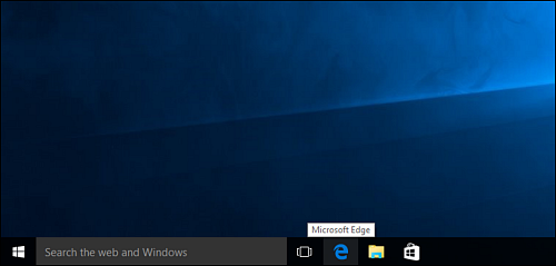 "The ""e"" shortcut on the taskbar is highlighted, center bottom of screen."