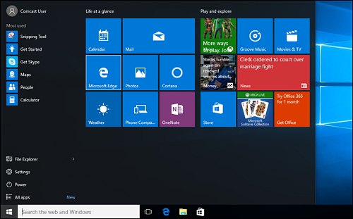 Start menu with Microsoft Edge shortcut highlighted, leftmost item in second row of tiles.