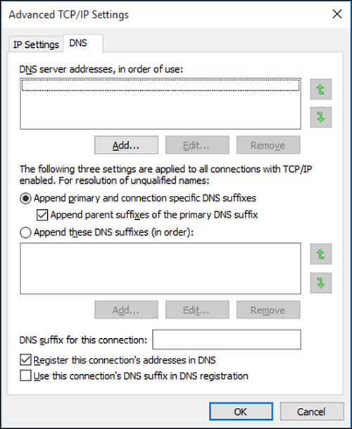 "Advanced TCP/IP Settings page with ""DNS"" tab selected."