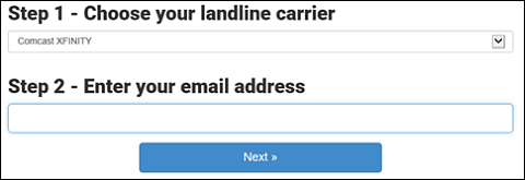 Steps 1 and 2 with dropdown for Carrier and free-form space to enter email.