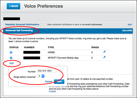 Voice Preferences screen showing the Advanced Call Forwarding option