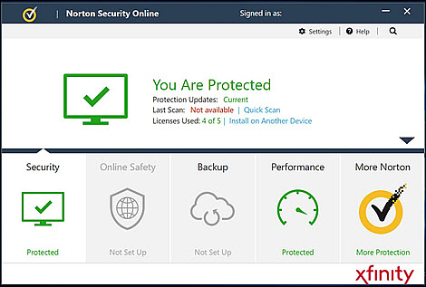 Norton Security Online status shows You Are Protected