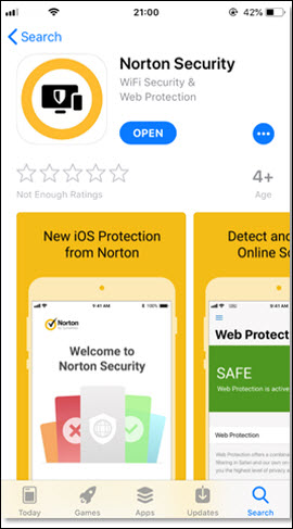 Norton Security download page with Open button in the top middle.