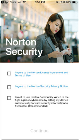 Norton Security Terms and Conditions screen with three check boxes.
