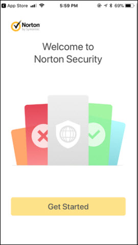 Welcome to Norton Security screen with Get Started button on the bottom.