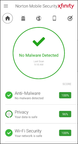 Norton Mobile Security home screen displays device status.