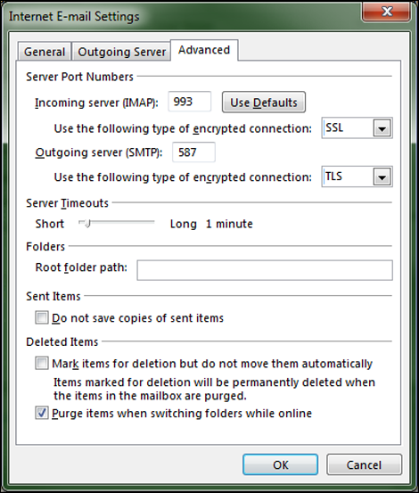 On the Advanced tab of the Internet E-mail Settings screen, the encryption connection selections are displayed at the top.