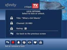 Lock options for a program's title, a channel and a rating are displayed
