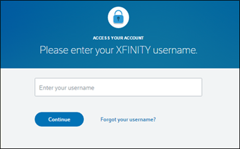 The Access Your Account page of xfinity.com.