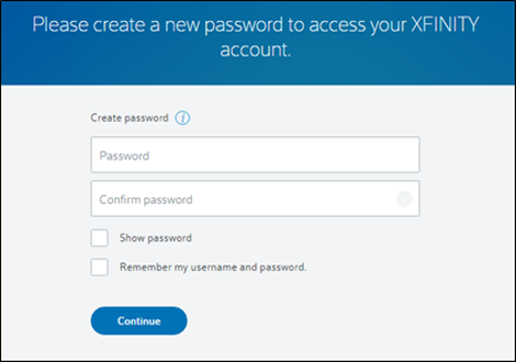 Fields for creating and confirming new password.