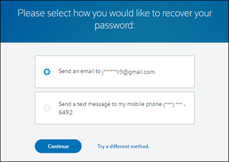 Two options for the method by which your password is recovered.
