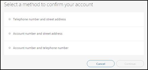 Options of methods of confirming your account, with Cancel and Continue in the bottom right.