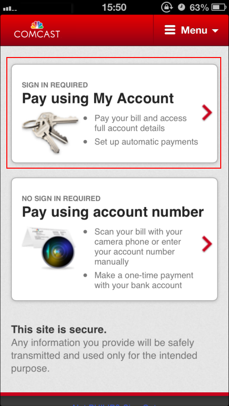 Choose Pay Using My Account (upper) or Pay Using Account Number (lower).