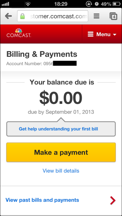 Billing & Payments window displays balance. Yellow Make a payment button at lower center.