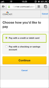 Choose how you'd like to pay window: choose credit or debit card, or checking or savings account. Yellow Continue button at lower center.