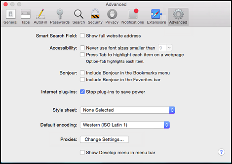 Preferences window with Advanced icon highlighted. Change Settings... option is at the bottom of the screen.