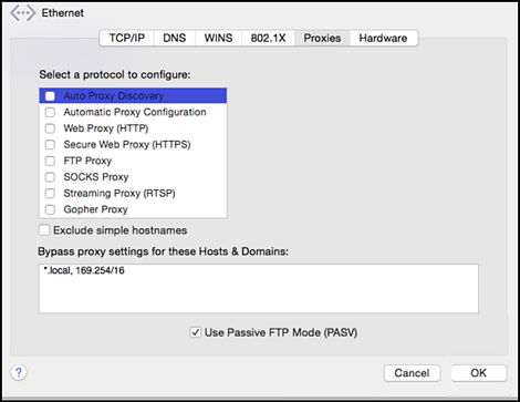 Proxies section of Network Preferences. OK option is in the bottom right corner.