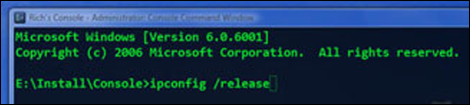 In Console Command Window, type ipconfig /release.