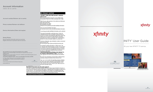 XFINITY TV Self Installation Kit documentation.