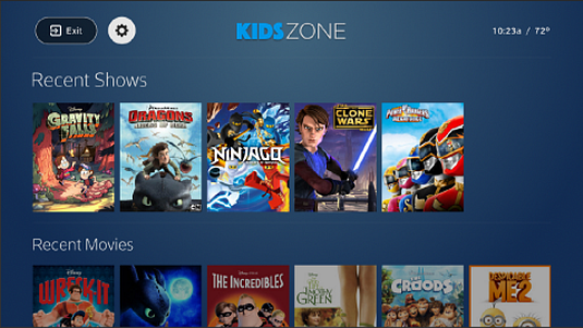Kids Zone screen with Settings wheel icon in top left corner.