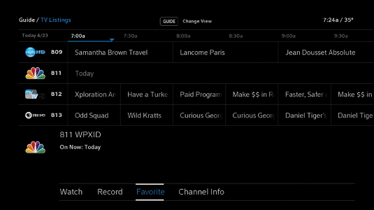 "X1 Guide: Main guide with ""Favorite"" option selected for that channel."