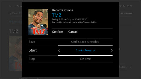 Start Time Options in your X1 DVR recordings