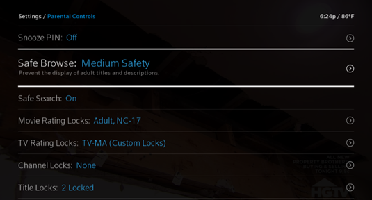 The Parental Controls screen with the Safe Browse option highlighted.