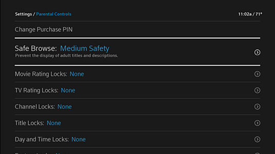 "Parental Controls screen with new Safe Browse setting of ""Medium Safety"" instead of ""Off."""