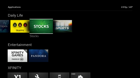 Apps are displayed; the Stocks app is selected.