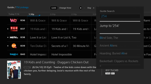 "Toward the right of the screen, a window shows the entered search ""254"" and allows the option to jump to channel 254."