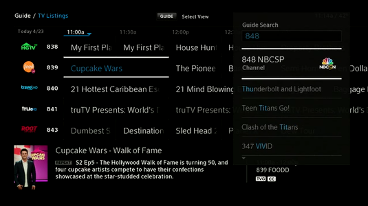 The X1 Guide grid in Guide Search mode for a specific channel (channel number search).