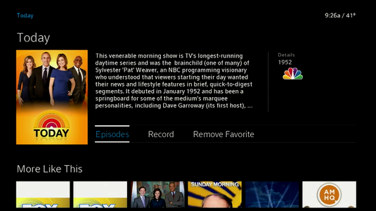 Program information screen displays,  The Episodes option is highlighted.  Right-arrow twice to skip Record and highlight Remove Favorite.