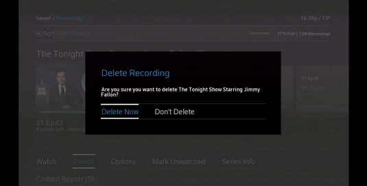 "Delete Recording window displays with ""Delete Now"" selected at lower left."